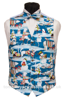 The Black background covered with falling snow will be a subtle choice to wear this Christmas waistcoat with a dinner suit. Santa and reindeer galore! - Waistcoat Style- TS519- Front Fabric- Cotton- Colour- Multi on Blue Background- Buttons- Silver Patterned - - Back & Lining- White Satin- You can click here to view our waistcoat size chart. Featured shirt White Wing Collar Shirt-