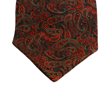 Harvard Burgundy & Green Paisley Cotton Day Cravat (Self-tie)
