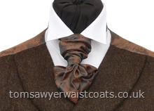 Copper and Pewter Paisley Ready Tied Scrunchy Tie with matching hankie