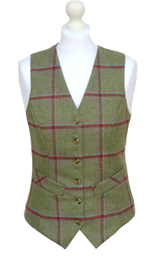 Ladies Sage Green & Mulberry Check Wool Waistcoat with Buff Back & Lining