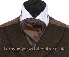 Copper & Pewter Two-Tone Paisley Self Tie Cravat