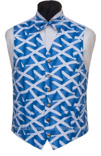 Our Saltire Waistcoat features St Andrew's Cross on the numerous Scottish flags. - Waistcoat Style- TS527- Front Fabric- Printed Cotton- Colour- Blue and White- Buttons- Silver patterned- Back & Lining- White Satin- Please choose the size you require. You can click here to view our size chart to help you decide. - Featured shirt White Wing Collar Dress Shirt-