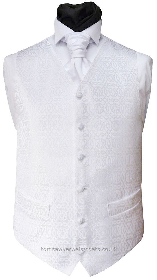 A traditional Celtic love knot design waistcoat in white on white . Waistcoat Style- TS207- Front Fabric- Non Silk- Colour- White- Buttons- White fabric covered- Back & Lining- White Satin- -You can click here to view our waistcoat size chart.