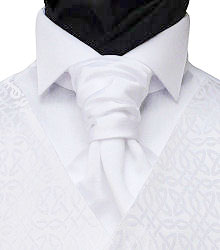 Featured Neckwear - White Satin Pre-Tied Scrunchie Tie