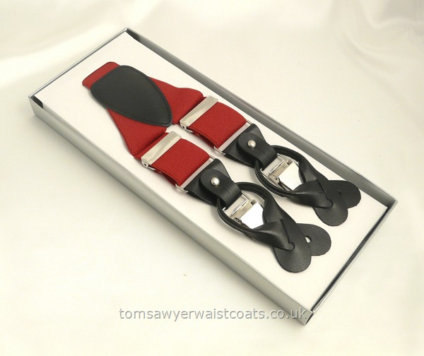 Gifts & Accessories : Braces : Red Luxury Braces with Button and Clip Fastenings