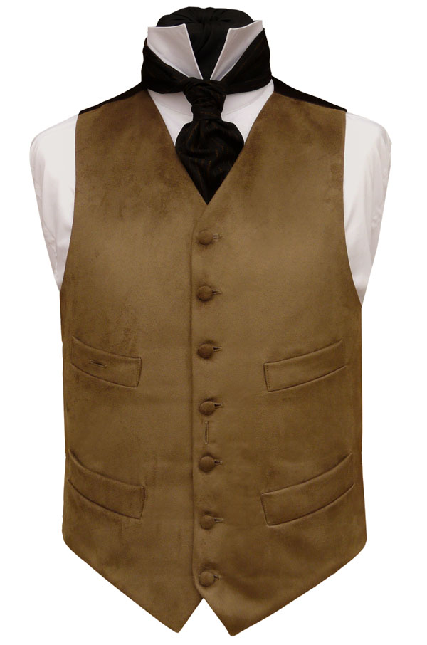 Traditional Waistcoats : Moleskin and Doeskin Waistcoats : High Neck Four Pocket Waistcoat in Brown Cotton Moleskin