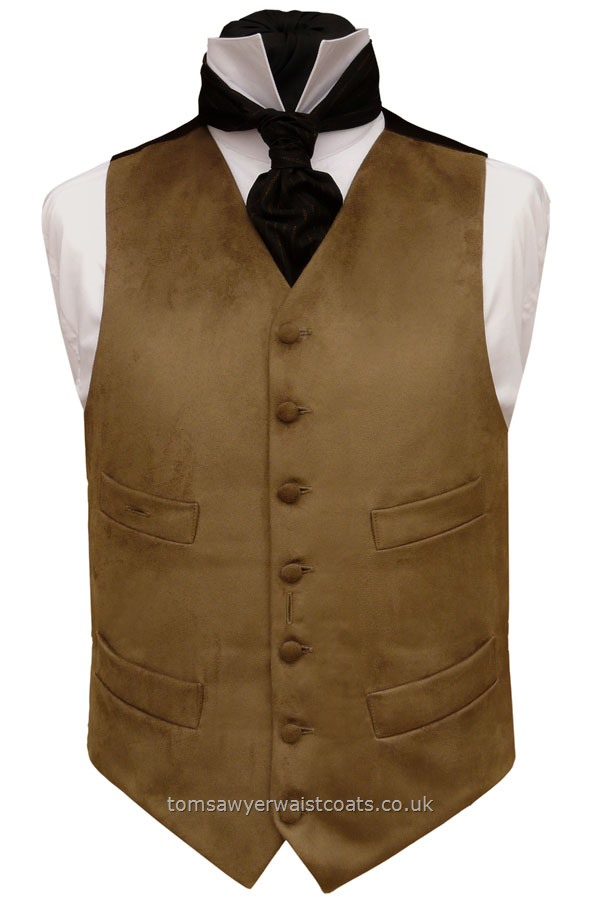 High Neck Four Pocket Waistcoat in Brown Cotton Moleskin