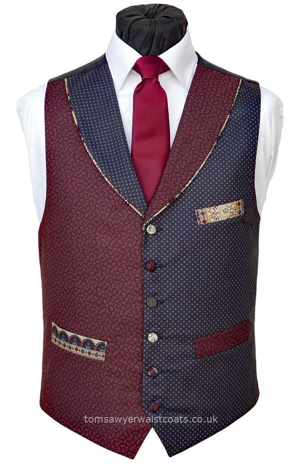 "Traditional Waistcoats : ""The Totnes Collection"" waistcoats : ""The Ashbury Tor' Navy & Aubergine Totnes Collection Waistcoat"