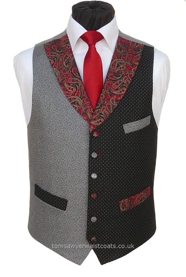 "Traditional Waistcoats : ""The Totnes Collection"" waistcoats : ""The Furze Tor"" Totnes Collection Black, Grey and Paisley Cotton Waistcoat"