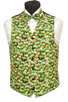 Festive sprouts on a red background. Waistcoat Style- TS539- Front Fabric- Cotton- Colour- Multi- Buttons- Black satin covered- - Back & Lining- Black polyester- You can click here to view our waistcoat size chart. Featured shirt White Wing Collar Shirt-