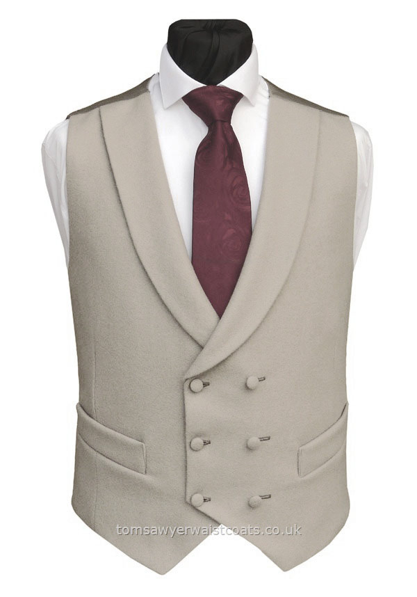 Traditional Waistcoats : Double Breasted Waistcoats : Buff Shawl Collar Double Breasted Waistcoat