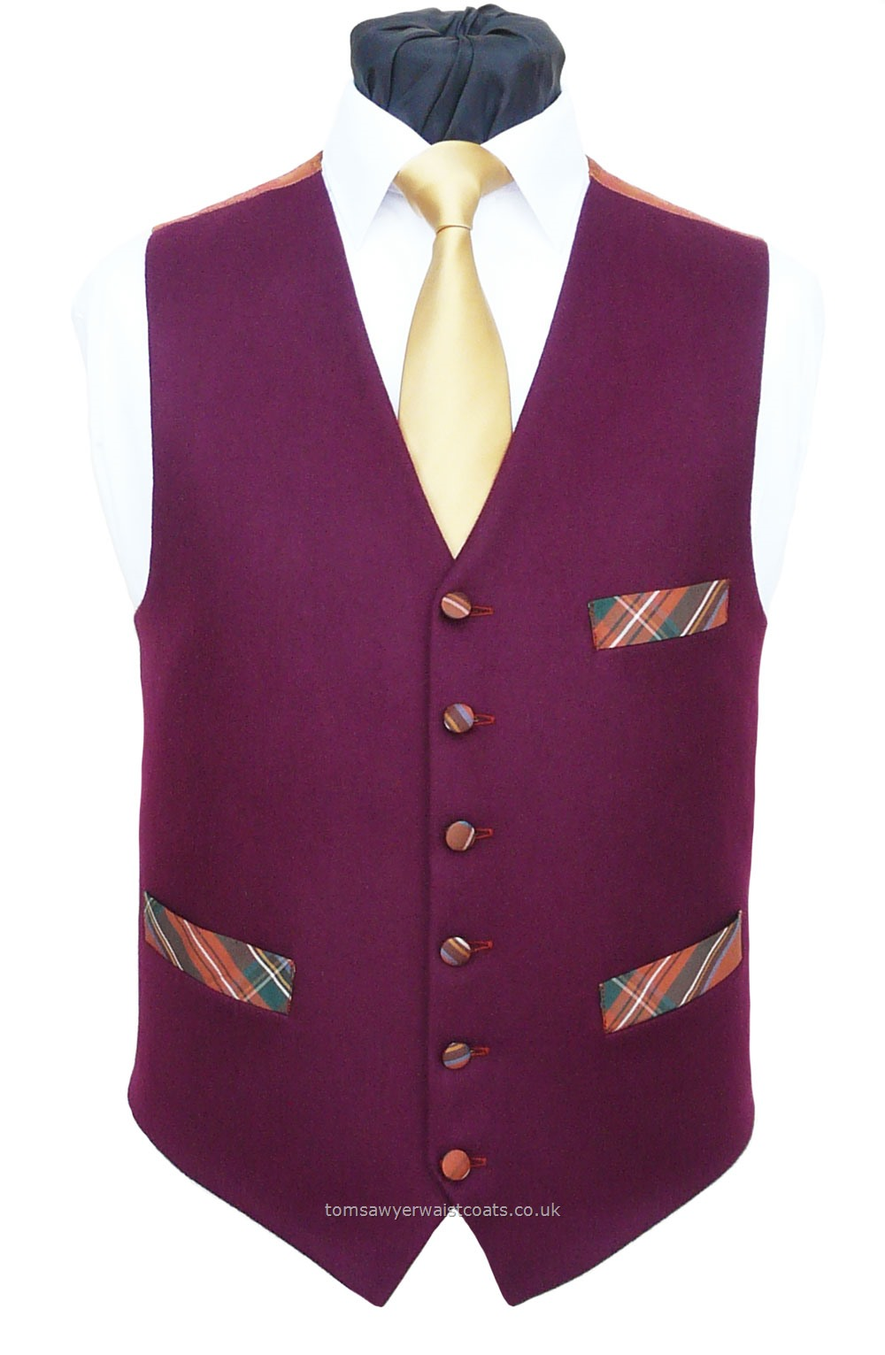 "Traditional Waistcoats : ""The Totnes Collection"" waistcoats : Burgundy Melton With Tartan Pockets Waistcoat"