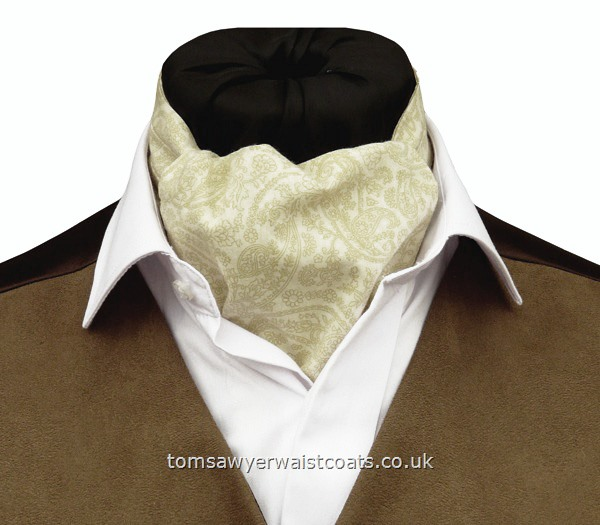 Neckwear : Day Cravats (Self-tie) : 'Sandringham' Cream Cotton Paisley Day Cravat (Self-tie)