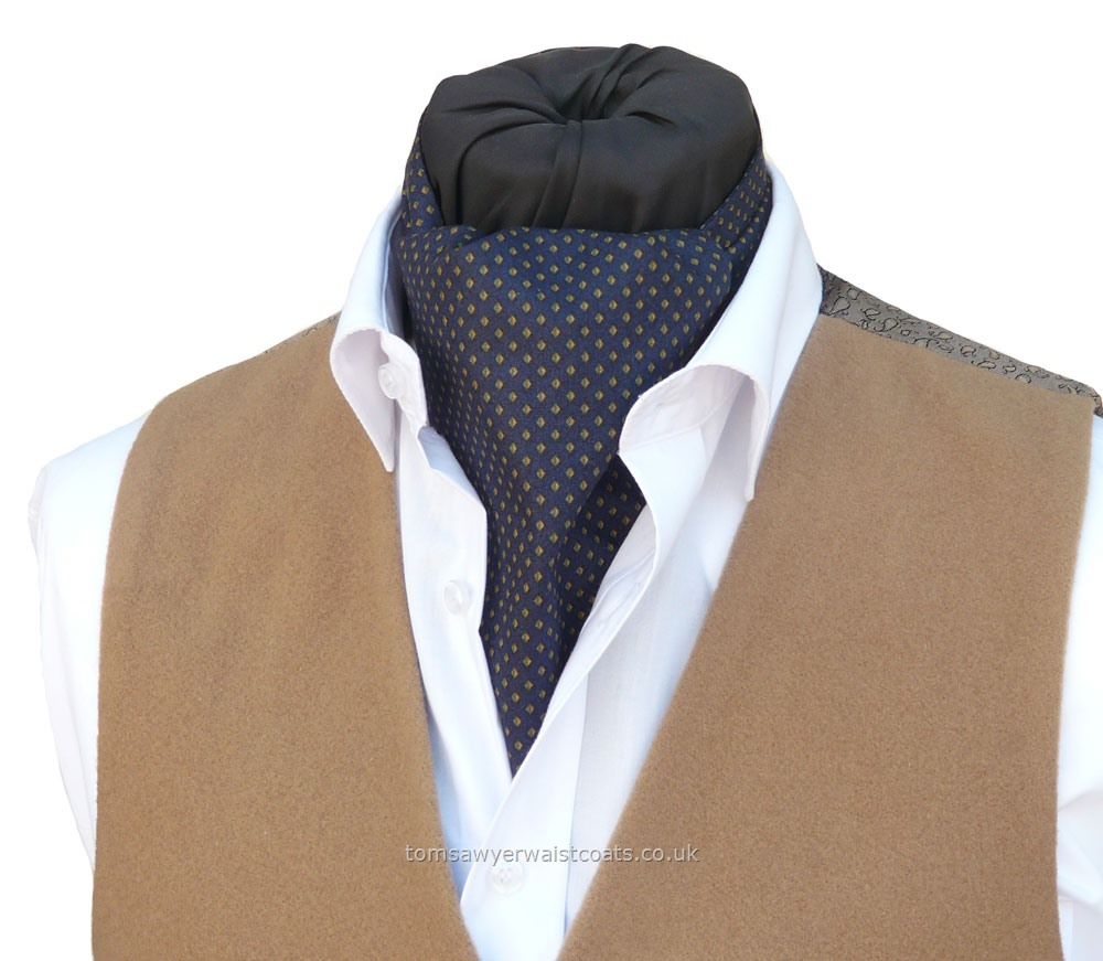Neckwear : Day Cravats (Self-tie) : Ashbury Navy Cotton Day Cravat (Self-tie)