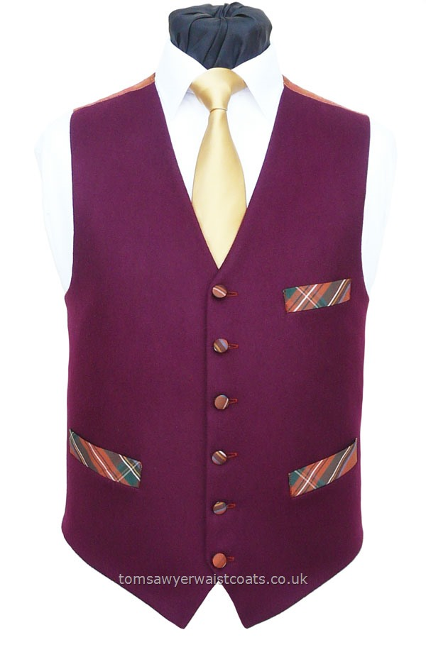 Burgundy Melton With Tartan Pockets Waistcoat