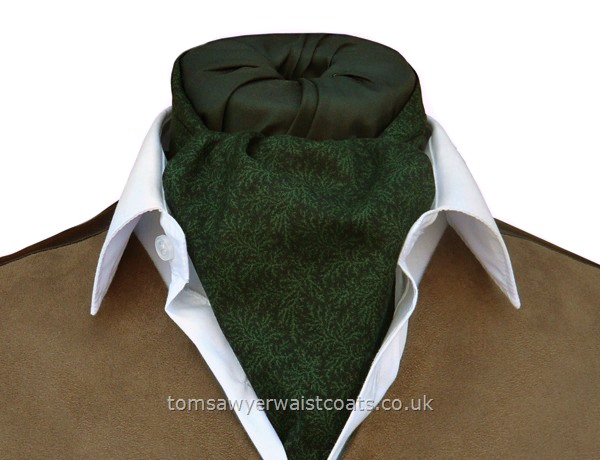 Dark Green Leaf Pattern Day Cravat (Self-tie)