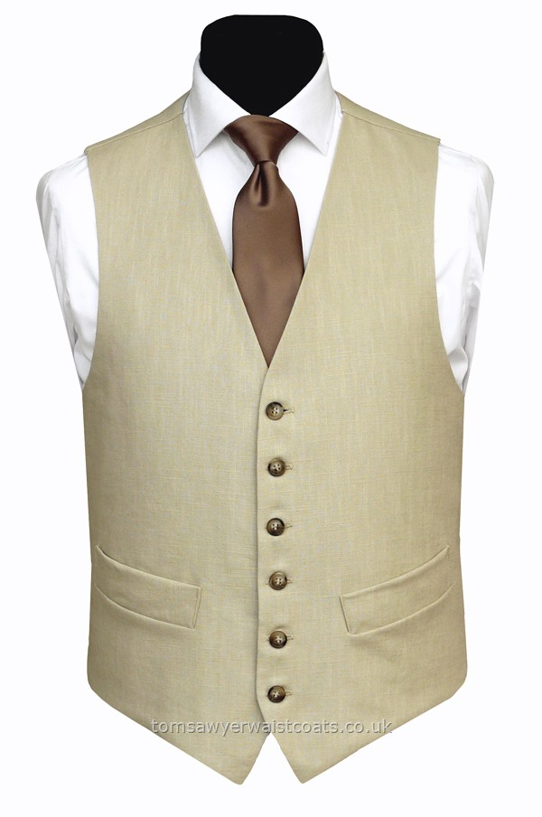 100% Linen waistcoat in a natural/beige shade. Perfect for casual wear and cool summer style.Featuring a lower cut, shaped neckline. Waistcoat Style- TS415- Front Fabric- 100% Linen- Colour- Natural- Buttons- Horn effect- Back & Lining- 100% Linen- You can click here to view our waistcoat size chart.