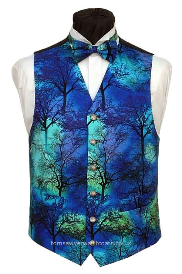 Northern Lights Through Trees Waistcoat