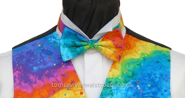 Rainbow Paint Splatter Pre-Tied Bowtie