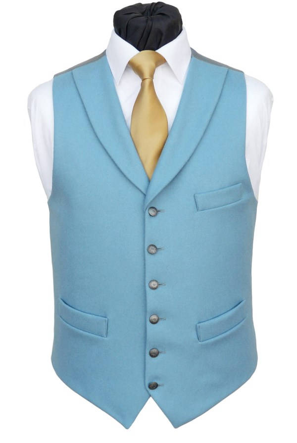 A fresh sky blue, soft to touch medium weight doeskin with a shawl collar. This waistcoat is also available without the collar as well as in our double breasted style. - Waistcoat Style- TS555- Front Fabric- Sky Blue- Colour- Burgundy- Buttons- Pewter effect Patterned- Back & Lining- Grey Twill- Please supply your height and stomach measurements with your order. You can click here to view our size chart to help you decide your nearest size.