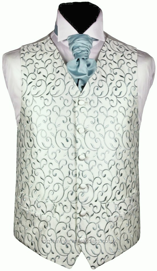Ivory with Misty Green Embroidery Satin Waistcoat