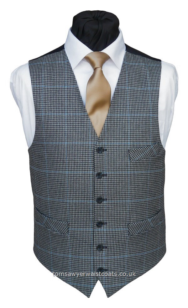 Navy & Grey Dog-Tooth Check Wool Waistcoat