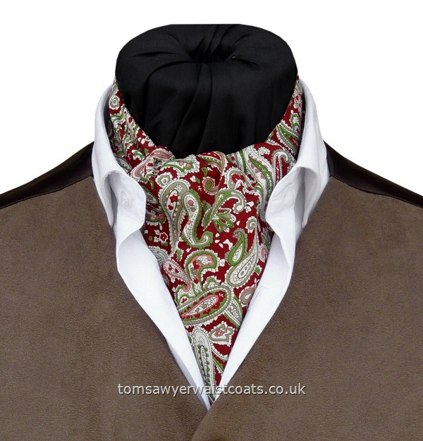 Washington  Red  & Green Paisley Cotton Day Cravat (Self-tie)