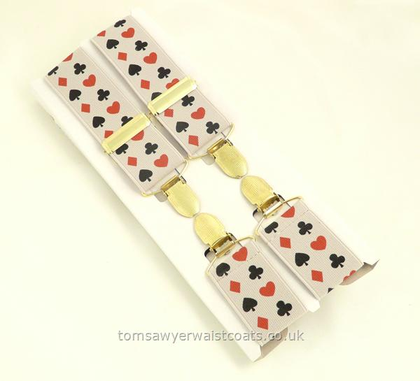 Gifts & Accessories : Braces : Card Pattern Clip-On Braces with Silver Clips