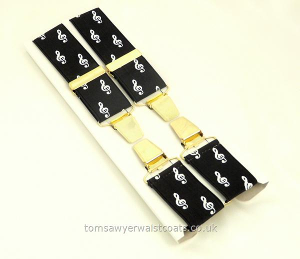 Gifts & Accessories : Braces : Treble Clef Musical Design Clip-On Braces with Gilt Clips