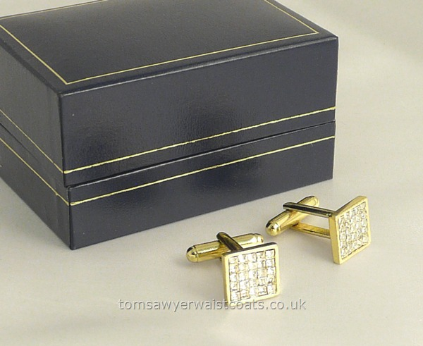 Gifts & Accessories : Cuff Links : Diamante Cufflinks in Gold Plated Setting