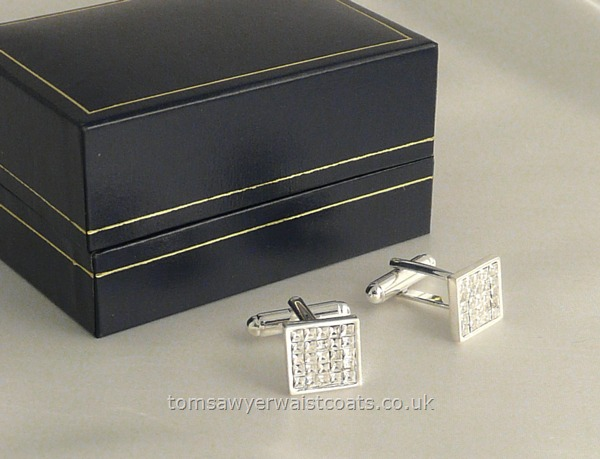 Gifts & Accessories : Cuff Links : Diamante Cufflinks in Silver Coloured Setting