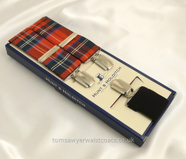 Gifts & Accessories : Braces : Royal Stewart Tartan Silk Men's Clip-On Braces