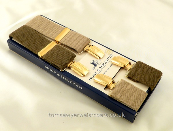 Gifts & Accessories : Braces : Olive & Camel Two Colour Braces with Gilt Clips