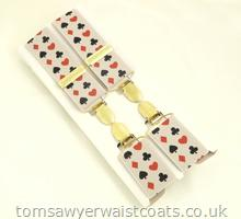 Card Pattern Clip-On Braces with Silver Clips