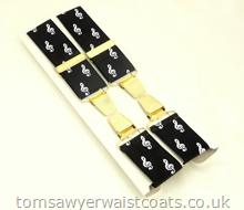 Treble Clef Musical Design Clip-On Braces with Gilt Clips