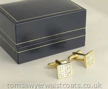 Diamante Cufflinks in Gold Plated Setting