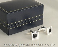 Diamante with Jet Stone Cufflinks