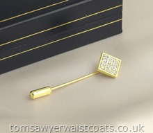 16 Stone Diamante Tie/Cravat Pin in Gold Plated Setting