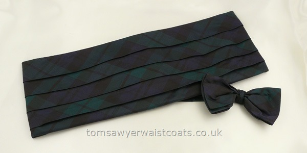 Neckwear : Cummerbund Sets with Bowtie & Cummerband : Blackwatch Tartan Cummerbund and Pre-tied Bowtie