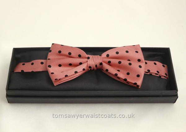 Neckwear : Bowties (Pre-tied) : Black Spot on Pink Pre-tied Silk Bowtie