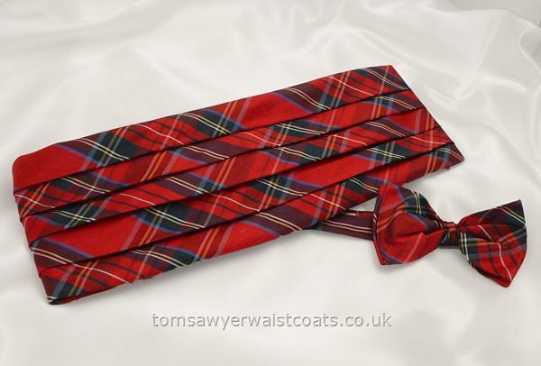 Neckwear : Cummerbund Sets with Bowtie & Cummerband : Royal Stewart Tartan Silk Bowtie and Cummerbund Set