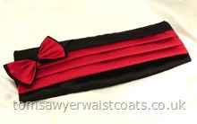 Black and Burgundy Bowtie and Cummerbund