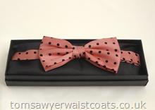 Black Spot on Pink Pre-tied Silk Bowtie