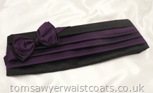 Black and Purple Bowtie and Cummerbund