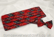 Royal Stewart Tartan Silk Bowtie and Cummerbund Set