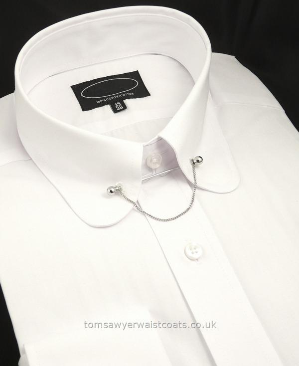Rounded club collar shirt with collar bar shirts mens for Mens eyelet collar dress shirts