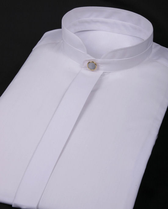 Shirts : Mandarin Collar Shirts : White Mandarin Collar Shirt