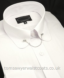 Rounded Club Collar Shirt with Collar Bar