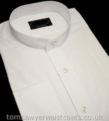 Collarless White Legal Shirt - 100% Cotton