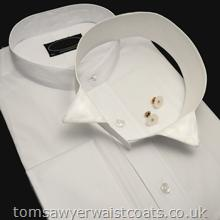 Collarless White Shirt with Detachable Collar